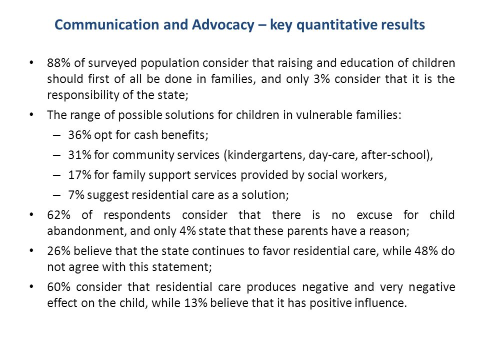 Communication and Advocacy – key quantitative results