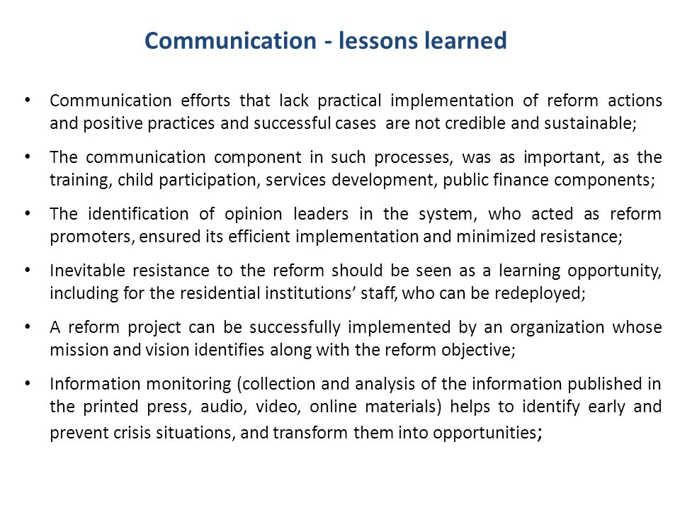 Communication - lessons learned