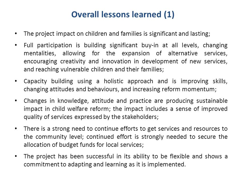 Overall lessons learned (1)