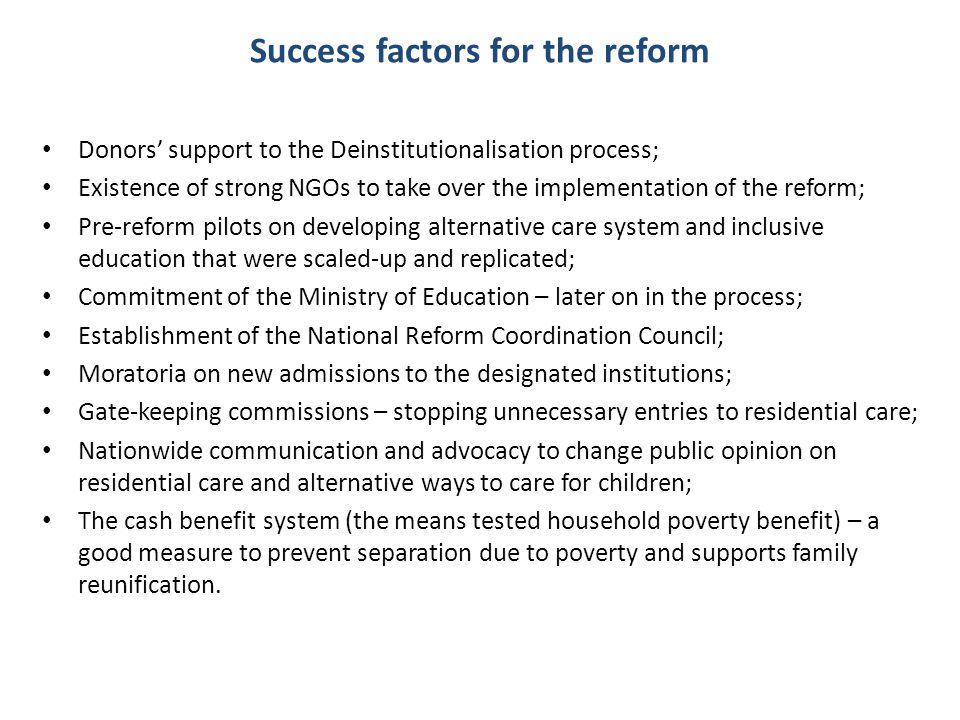 Success factors for the reform