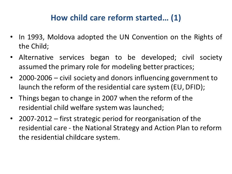 How child care reform started… (1)