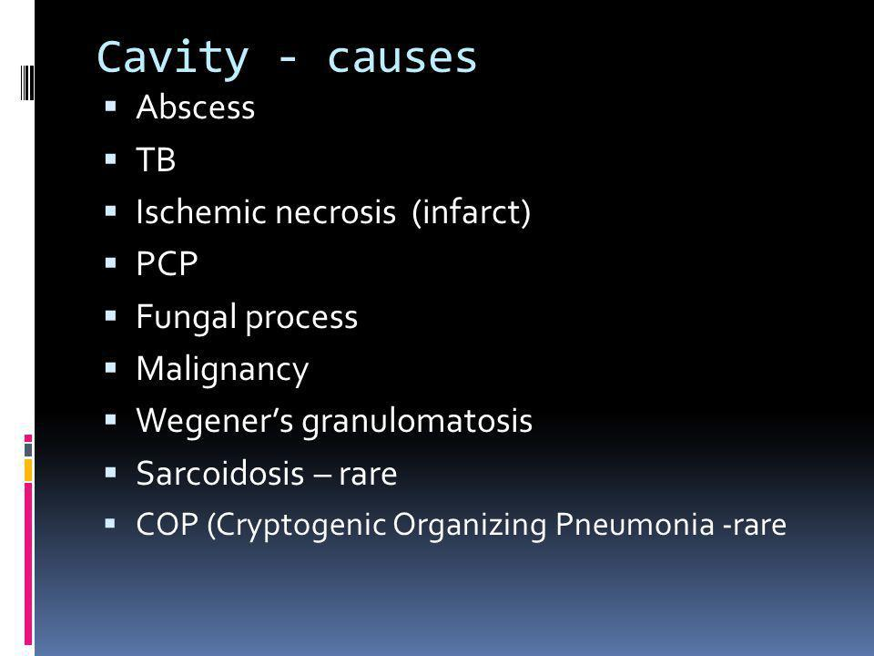 Cavity - causes Abscess TB Ischemic necrosis (infarct) PCP
