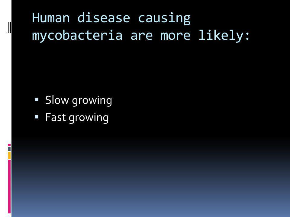 Human disease causing mycobacteria are more likely: