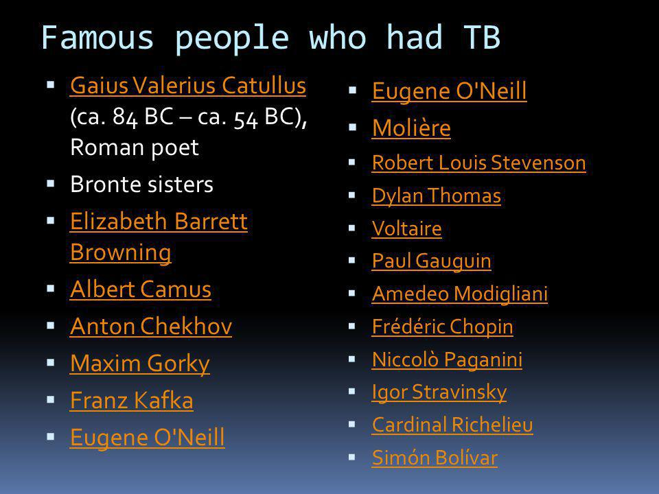 Famous people who had TB