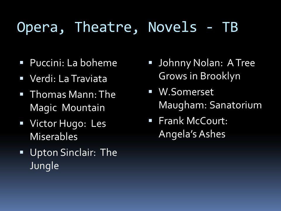Opera, Theatre, Novels - TB