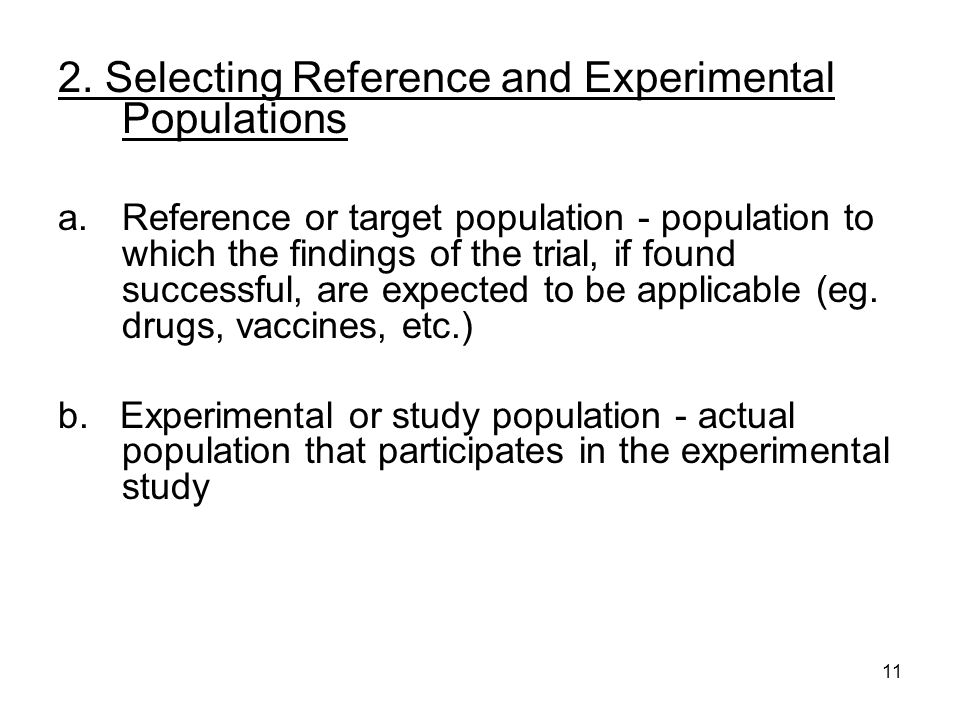 2. Selecting Reference and Experimental Populations