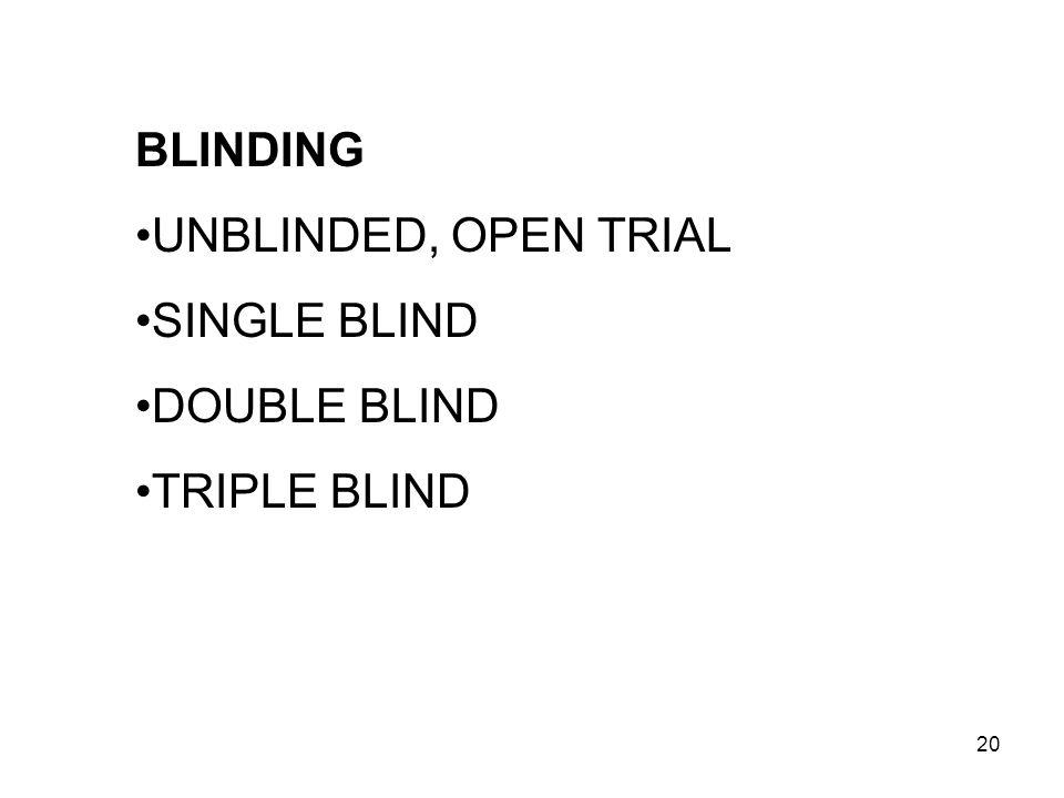 BLINDING UNBLINDED, OPEN TRIAL SINGLE BLIND DOUBLE BLIND TRIPLE BLIND