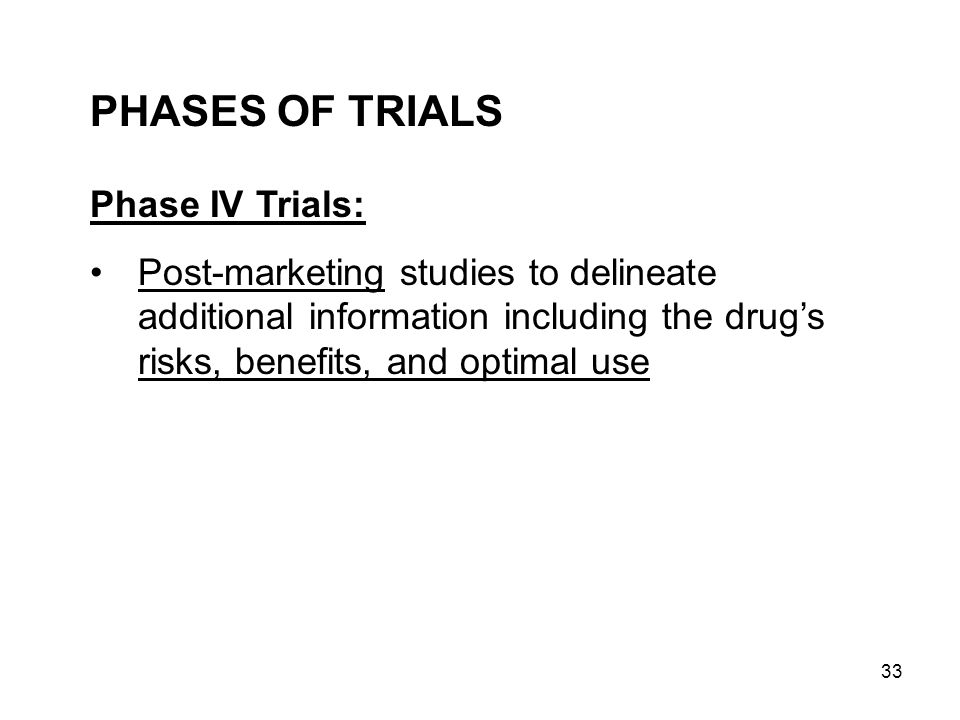 PHASES OF TRIALS Phase IV Trials: