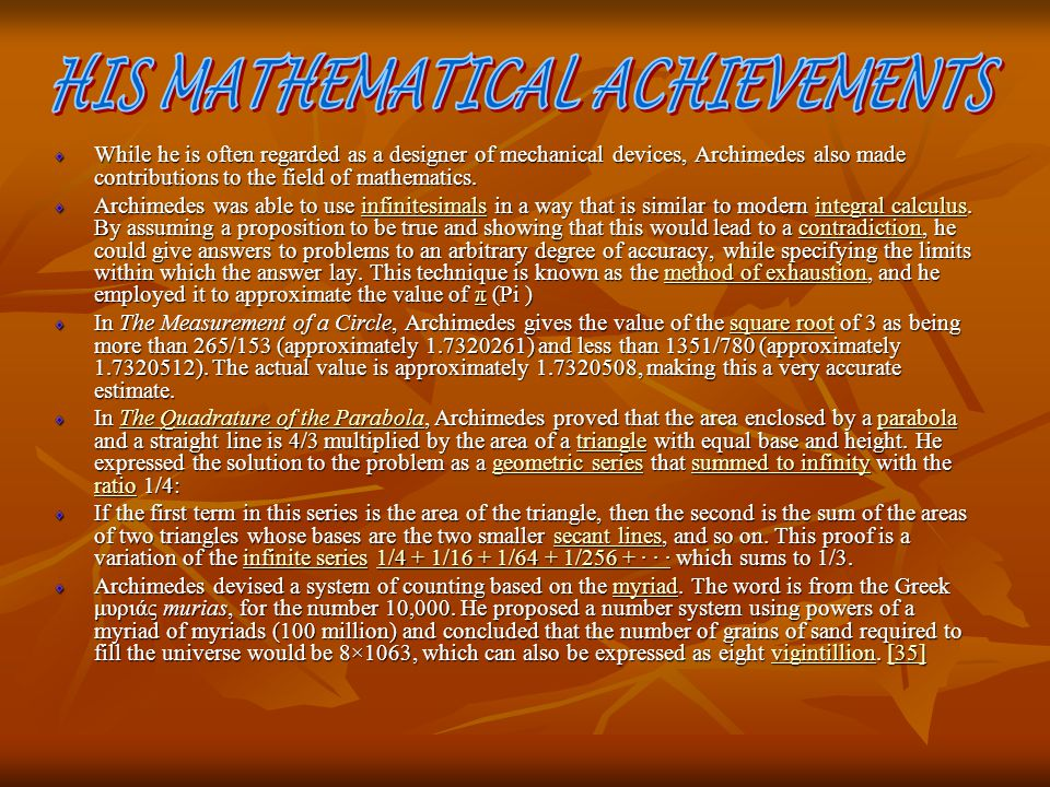 HIS MATHEMATICAL ACHIEVEMENTS