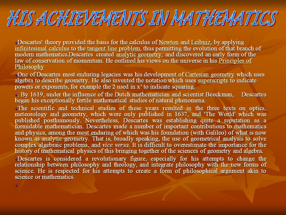 HIS ACHIEVEMENTS IN MATHEMATICS