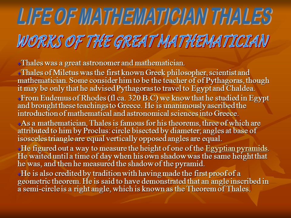 LIFE OF MATHEMATICIAN THALES WORKS OF THE GREAT MATHEMATICIAN