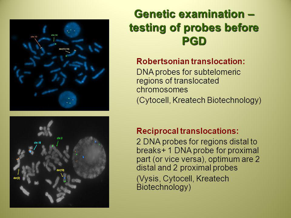 Genetic examination – testing of probes before PGD
