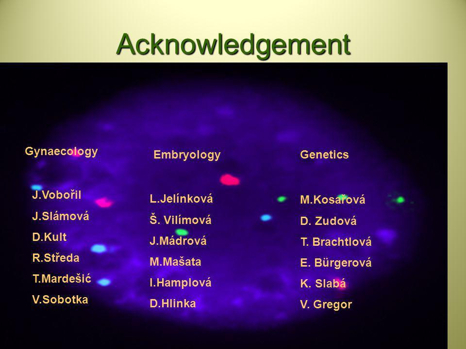 Acknowledgement Gynaecology Embryology Genetics J.Vobořil J.Slámová