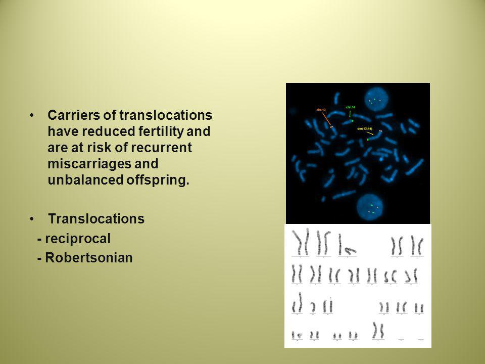 Carriers of translocations have reduced fertility and are at risk of recurrent miscarriages and unbalanced offspring.