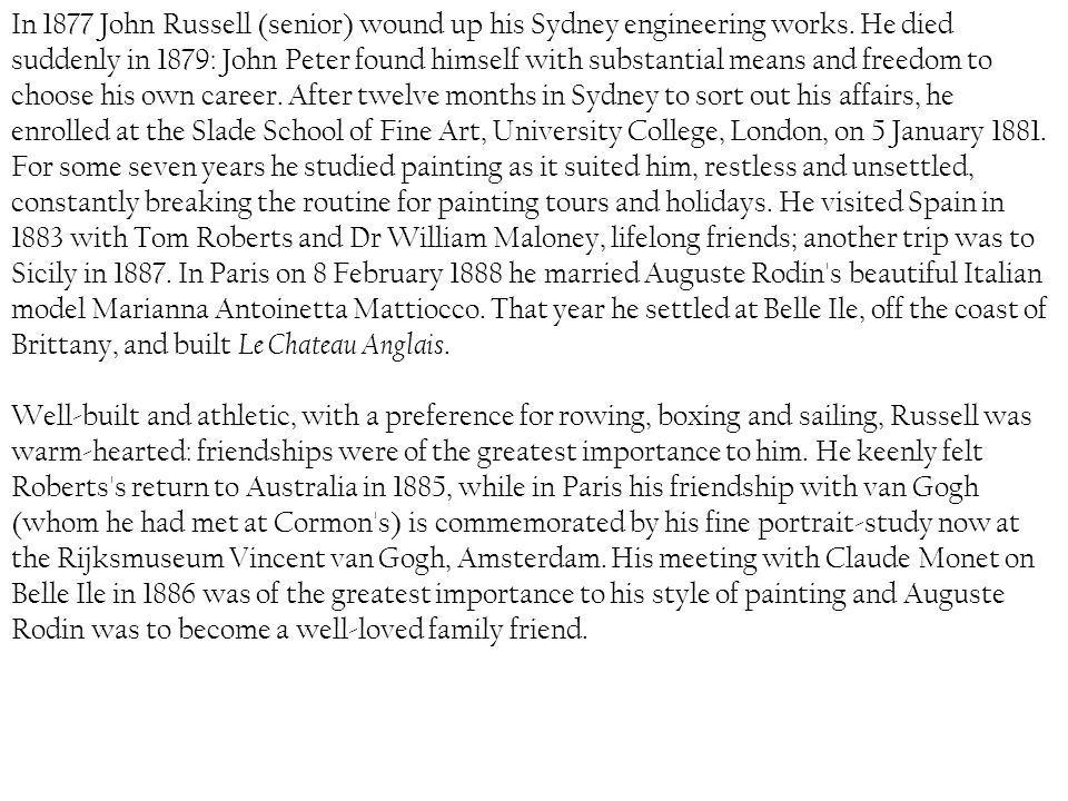 In 1877 John Russell (senior) wound up his Sydney engineering works