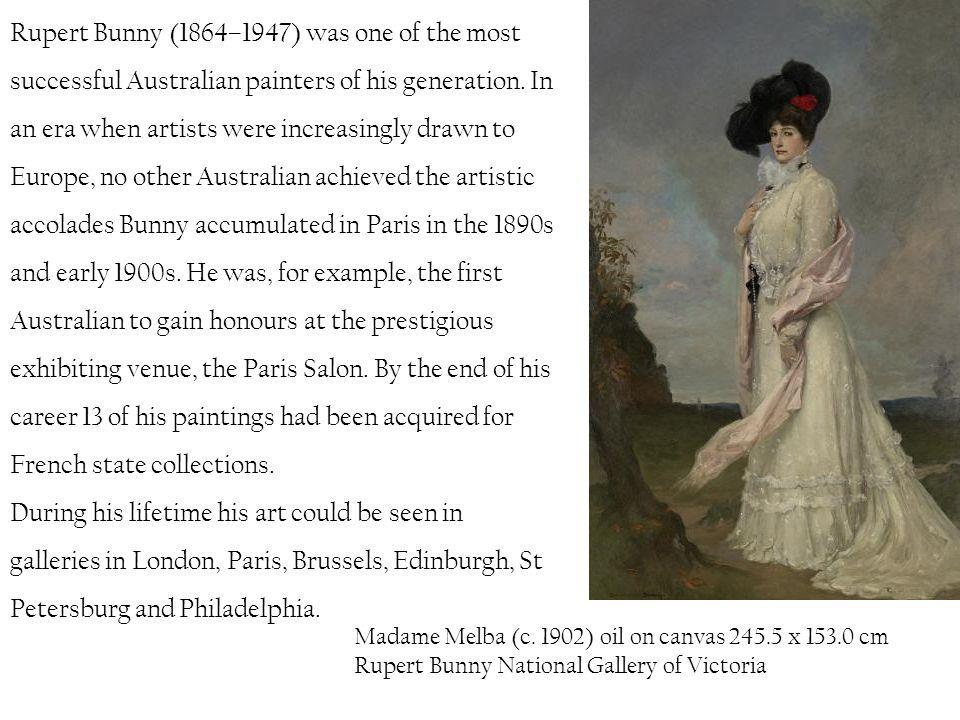 Rupert Bunny (1864–1947) was one of the most successful Australian painters of his generation. In an era when artists were increasingly drawn to Europe, no other Australian achieved the artistic accolades Bunny accumulated in Paris in the 1890s and early 1900s. He was, for example, the first