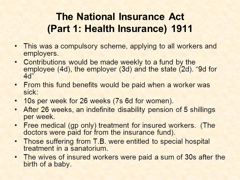 The National Insurance Act (Part 1: Health Insurance) 1911
