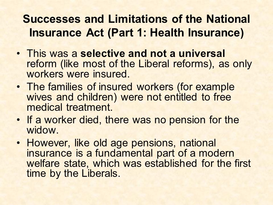 Successes and Limitations of the National Insurance Act (Part 1: Health Insurance)