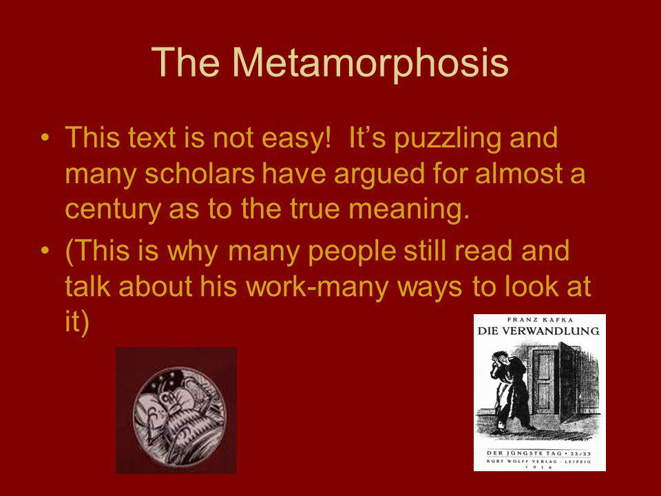 The Metamorphosis This text is not easy! It's puzzling and many scholars have argued for almost a century as to the true meaning.
