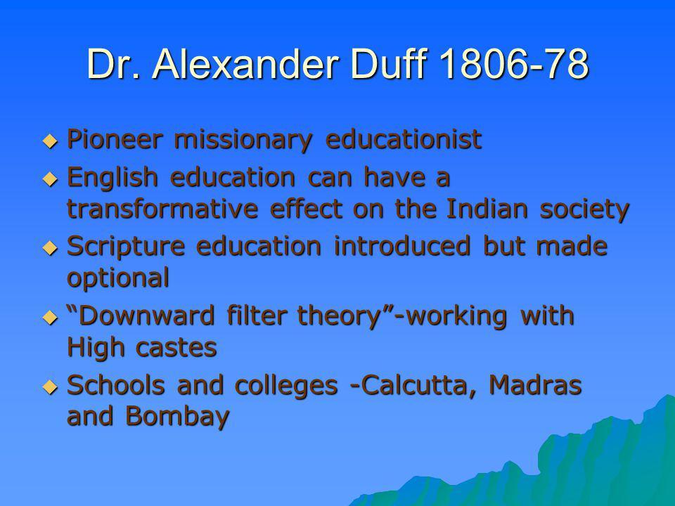 Dr. Alexander Duff 1806-78 Pioneer missionary educationist