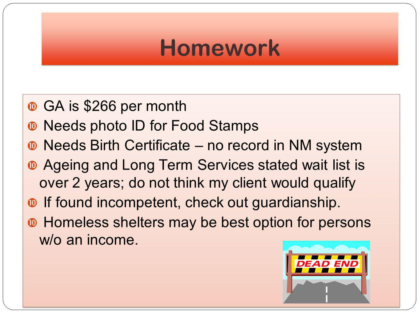 A homeless alcoholic patient with tb ppt download homework ga is 266 per month needs photo id for food stamps aiddatafo Images