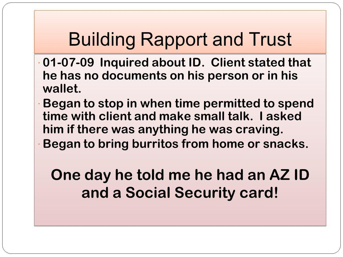 Building Rapport and Trust