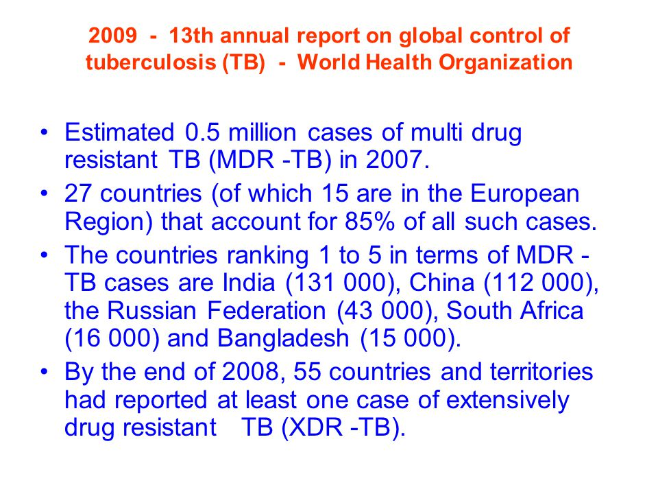 th annual report on global control of tuberculosis (TB) - World Health Organization