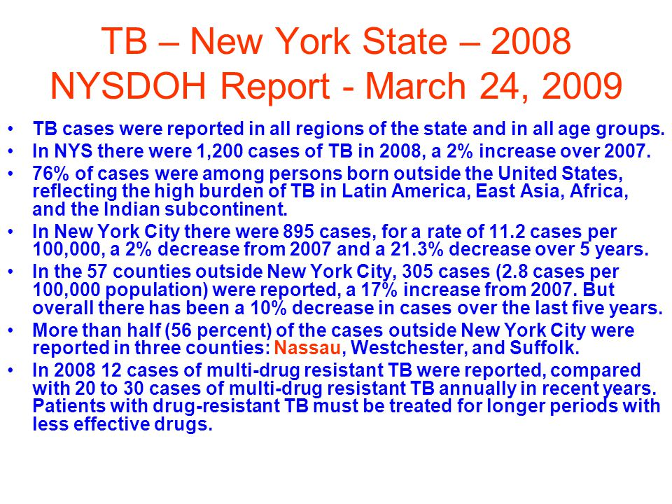 TB – New York State – 2008 NYSDOH Report - March 24, 2009