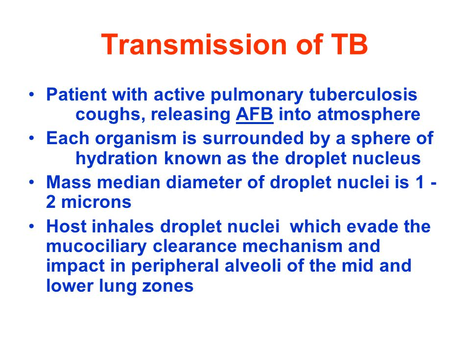 Transmission of TB Patient with active pulmonary tuberculosis coughs, releasing AFB into atmosphere.