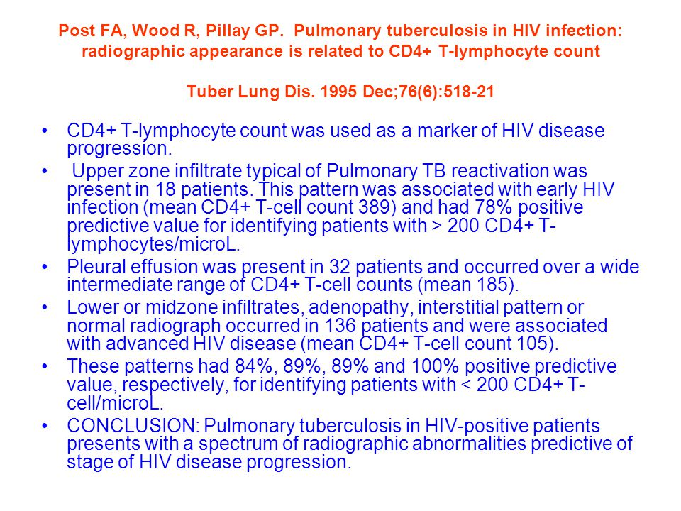 Post FA, Wood R, Pillay GP. Pulmonary tuberculosis in HIV infection: radiographic appearance is related to CD4+ T-lymphocyte count Tuber Lung Dis. 1995 Dec;76(6):518-21