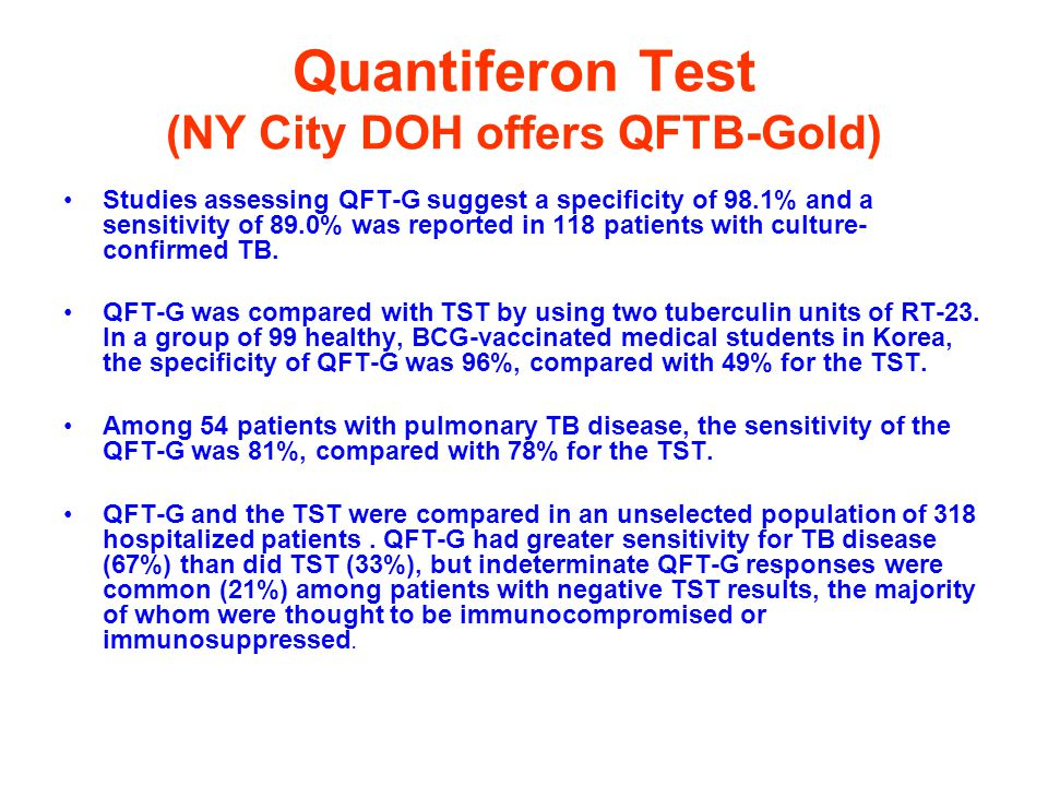 Quantiferon Test (NY City DOH offers QFTB-Gold)