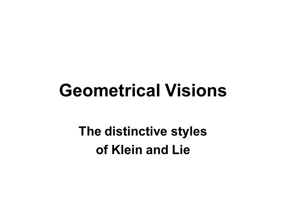The distinctive styles of Klein and Lie