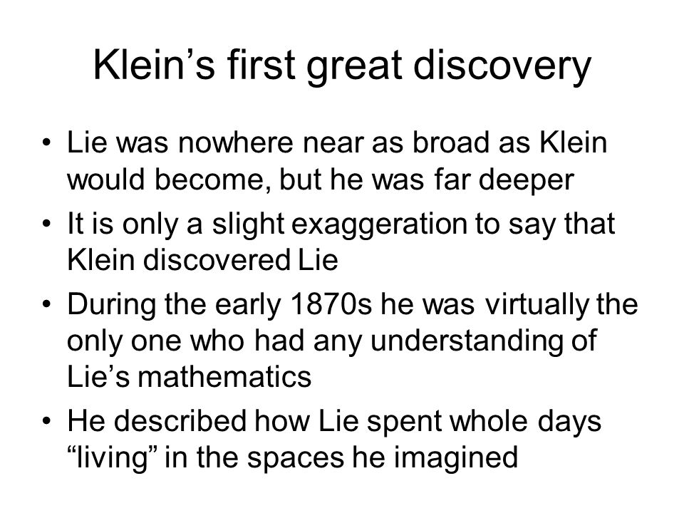 Klein's first great discovery