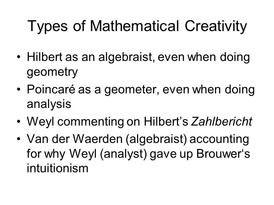 Types of Mathematical Creativity