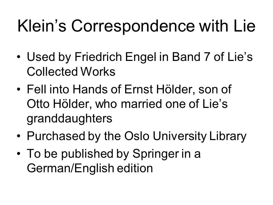 Klein's Correspondence with Lie