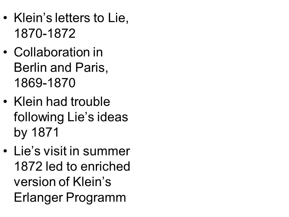 Klein's letters to Lie, 1870-1872