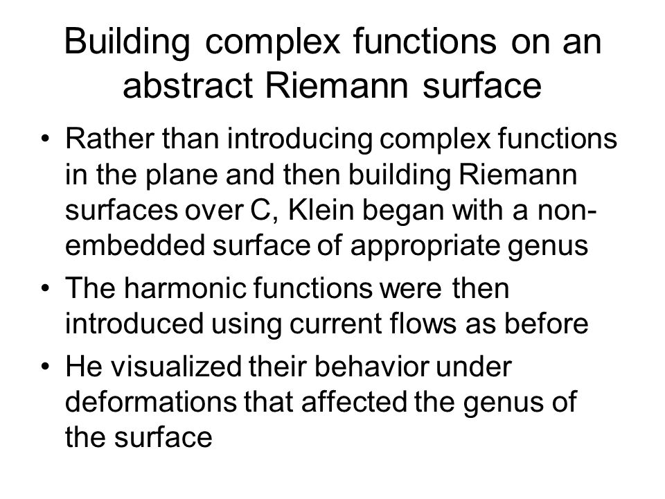 Building complex functions on an abstract Riemann surface