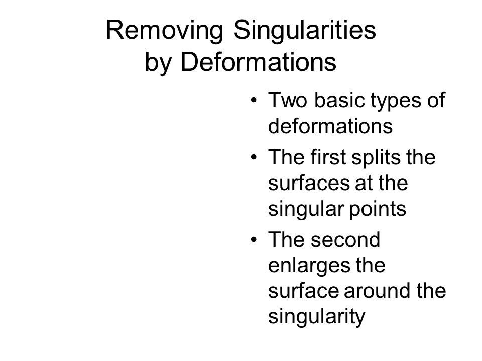 Removing Singularities by Deformations