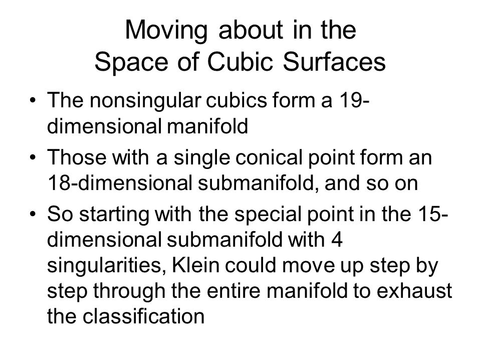 Moving about in the Space of Cubic Surfaces