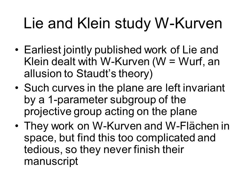 Lie and Klein study W-Kurven