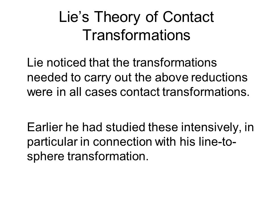 Lie's Theory of Contact Transformations