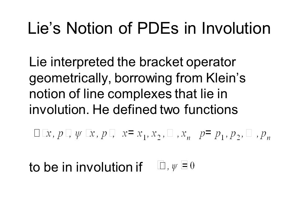 Lie's Notion of PDEs in Involution