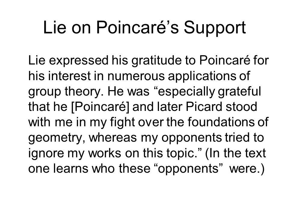 Lie on Poincaré's Support