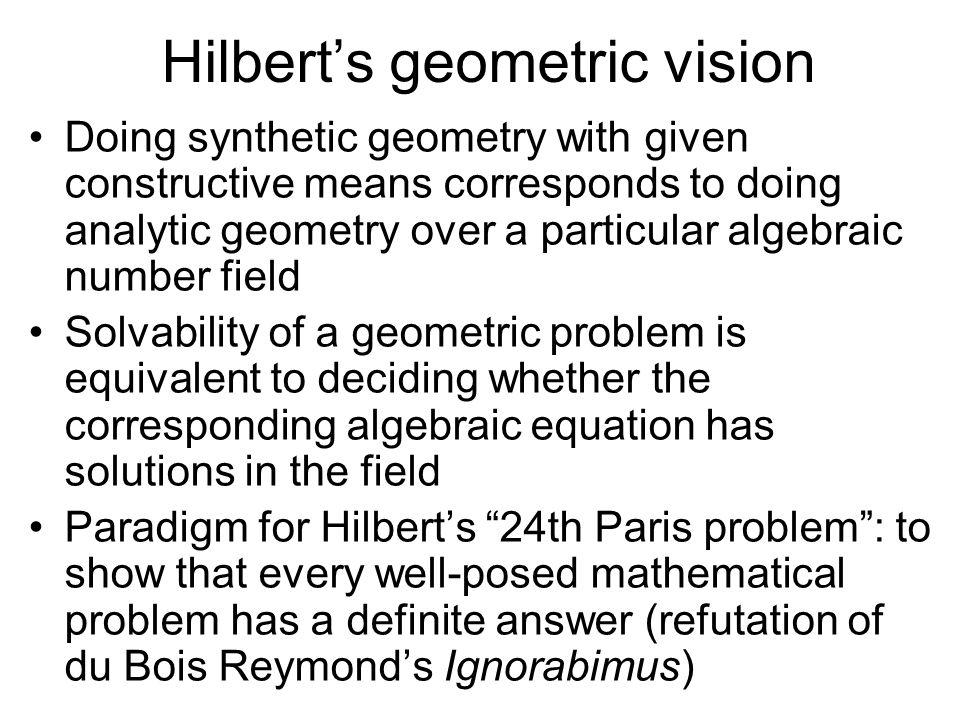 Hilbert's geometric vision