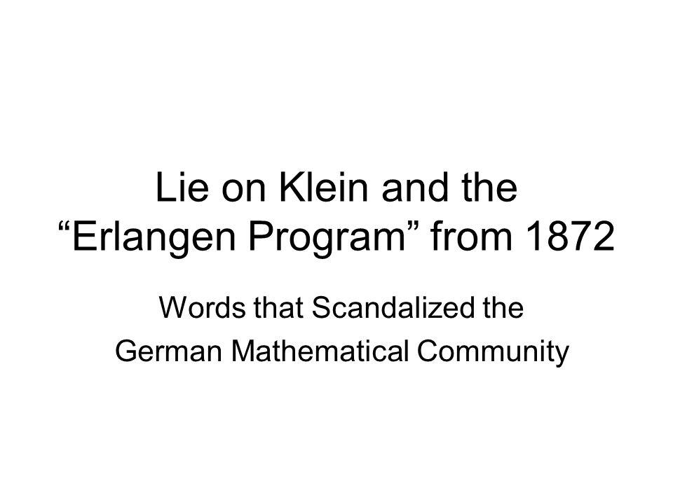 Lie on Klein and the Erlangen Program from 1872