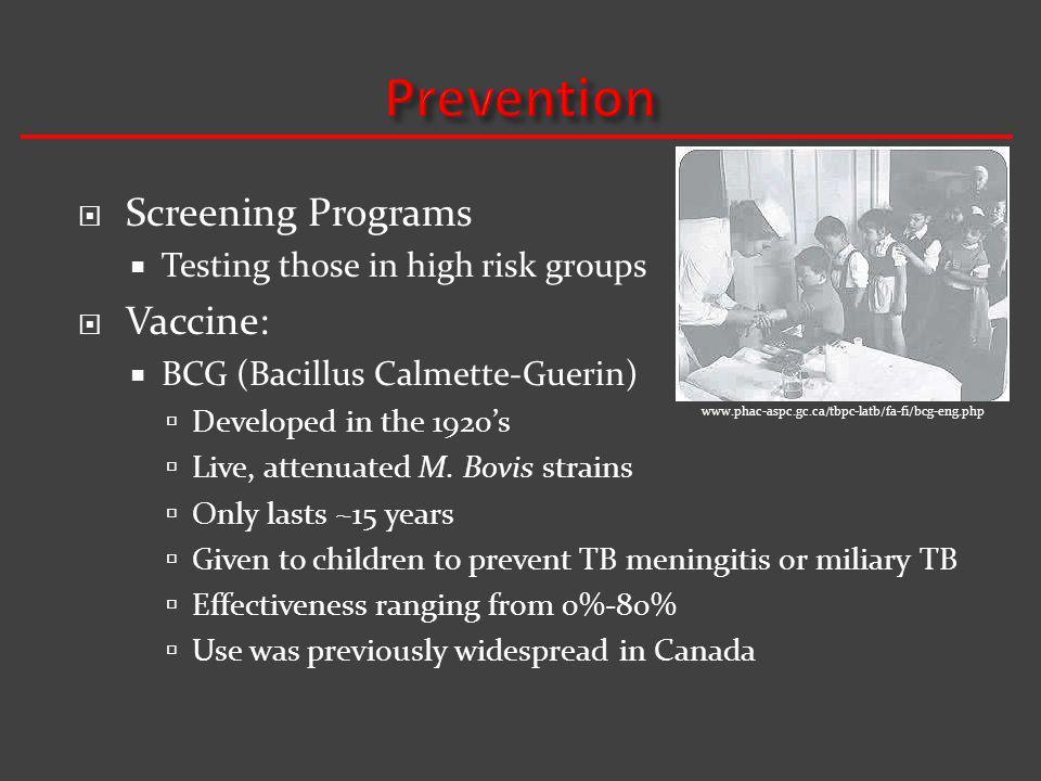 Prevention Screening Programs Vaccine: