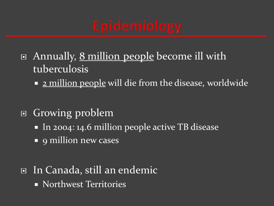 Epidemiology Annually, 8 million people become ill with tuberculosis