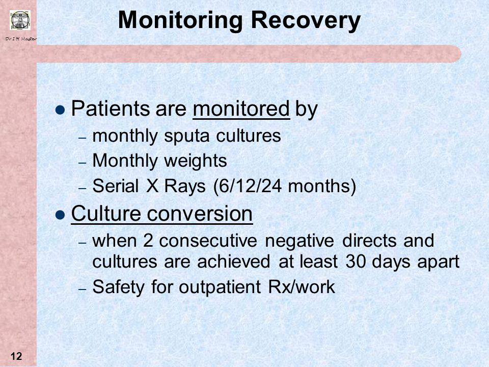 Monitoring Recovery Patients are monitored by Culture conversion