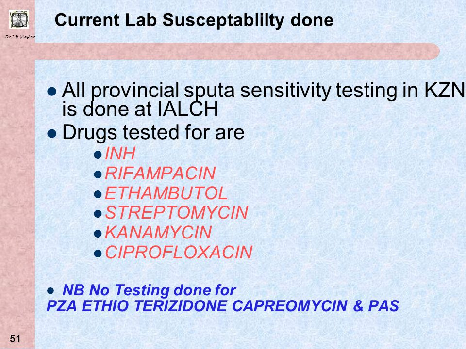 Current Lab Susceptablilty done