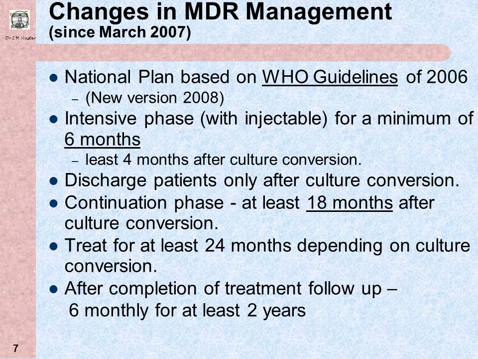 Changes in MDR Management (since March 2007)